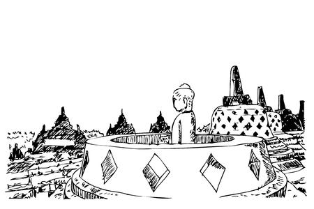 Vector Simple Outline Black hand draw croquis de Statue au temple de borobudur à fond blanc Banque d'images