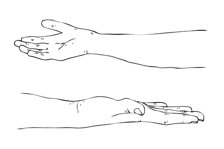 Vector Manual Draw, Gesture 2 Hand Receive Something, isolated on white