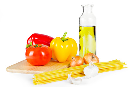 healthy path: Healthy ingredients in Italian traditional cuisine isolated on white with clipping path Stock Photo