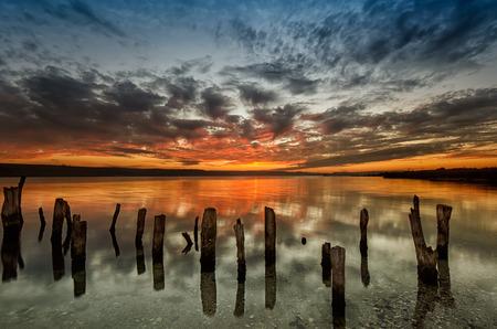 long lake: Magnificent long exposure lake sunset