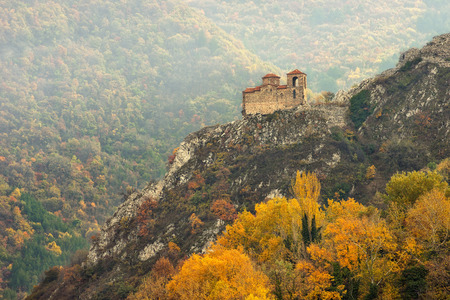 Autumn landscape with the church at Asen s Fortress near Asenovgrad, Bulgaria 写真素材