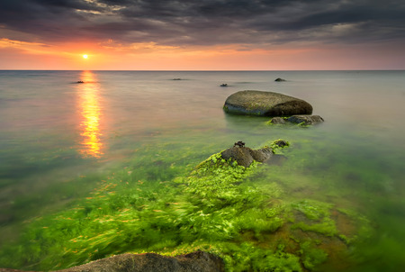 Rocky beach seascape at sunrise with small crabs on the rocks photo
