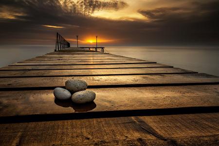 Sea sunrise at the Black Sea coast near Varna, Bulgaria photo