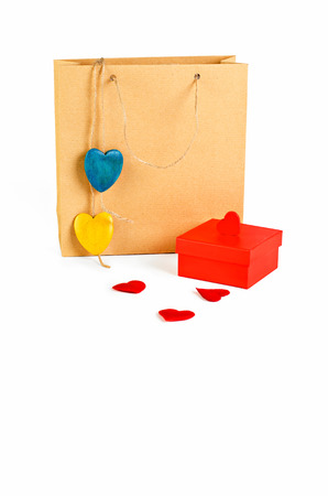 paperbag: Paperbag, gift box and heart shapes isolated on white with clipping path