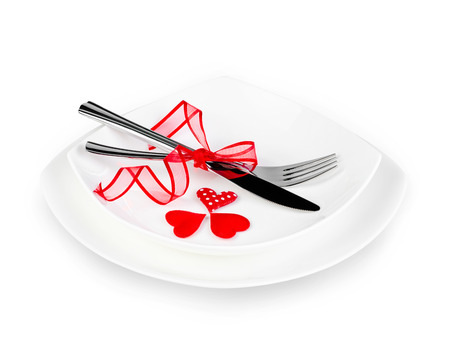 pat: A romantic table setting with hearts and ribbon isolated on white with clipping pat