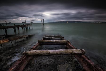 groyne: Stormy sea near Varna, Bulgaria