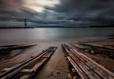 groyne: Long exposure sea sunrise near Varna, Bulgaria Stock Photo