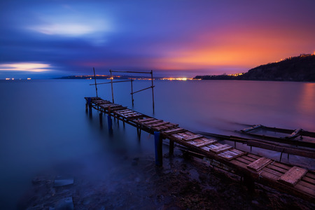 Long time exposure landscape with lake after sunset photo