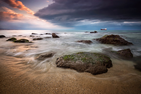 stormy sea: A stunning sunrise with stormy sea