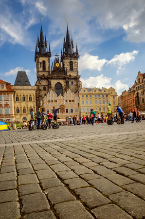 old town square: Tourists on the old town square of Prague, Czech Republic