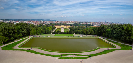 schonbrunn palace: A panoramic view of the Schonbrunn palace in Vienna and its beautiful gardens Editorial