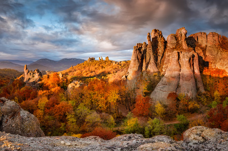 Magnificent morning view of the Belogradchik rocks in Bulgaria, lit by the autumn sun 写真素材