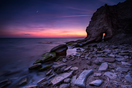 misterious: Misterious door.  Amazing night view at the rocky Black Sea coast, Bulgaria. Stock Photo