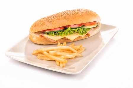 french fries plate: Plate with a sandwich and french fries isolated on a white background
