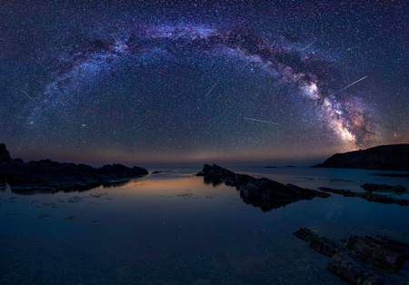 Milky Way and the Perseids.  Long time exposure night landscape with Milky Way Galaxy during the Perseids flow above the Black sea, Bulgaria.