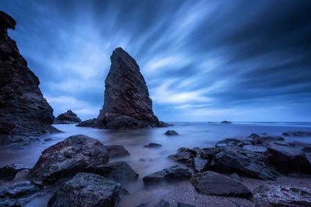 ?ysterious dawn. Long exposure seascape with sea rocks near Rezovo, Bulgaria.