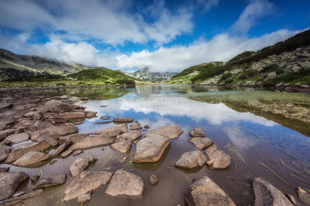 Mountain lake  Magnificent summer panoramic view of the Frog lake in Pirin Mountains