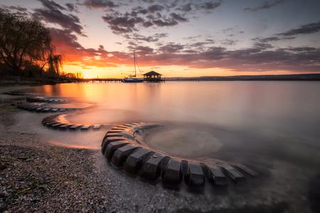 Magnificent long exposure lake sunset near Varna, Bulgaria