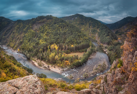 Panoramic view of an autumn forest and meanders of Arda river near Kardzhali, Bulgaria