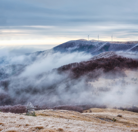 Winter landscape with frosty foggy peaks of Balkan Mountains, Bulgaria 写真素材 - 118435842