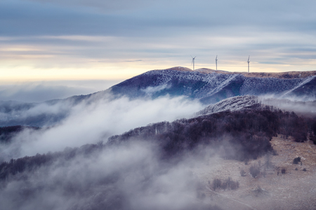 Winter landscape with frosty foggy peaks of Balkan Mountains, Bulgaria Фото со стока