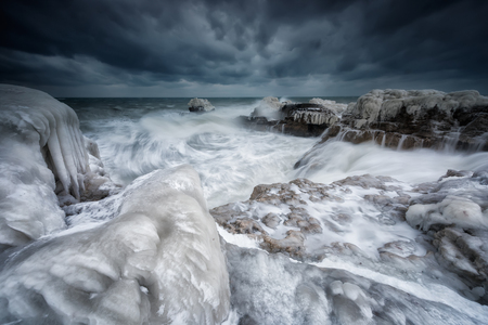 Magnificent morning view of the rocky coastline of  winter Black sea