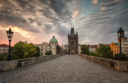 Charles Bridge in Prague at sunrise, Czech Republic Фото со стока