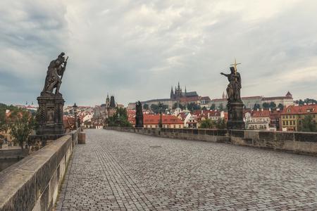 Charles Bridge in Prague in the morning, Czech Republic Фото со стока
