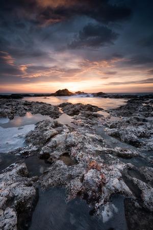 Magnificent sea sunrise at the rocky Black sea coast