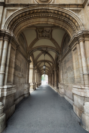 Scenic view of a beautiful arcade with vaulted ceilings in a public building in Vienna, Austria. Фото со стока