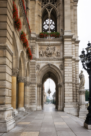 Scenic view of a beautiful arcade of the City Hall facade in Vienna, Austria.