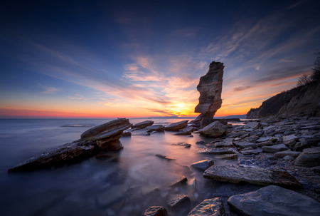 Amazing sunset view of the rocky Black Sea coast, Bulgaria