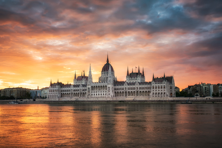 Amazing fiery sunrise above Hungarian Parliament in Budapest