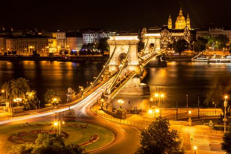Amazing night view with the Chain Bridge at night, Budapest Фото со стока