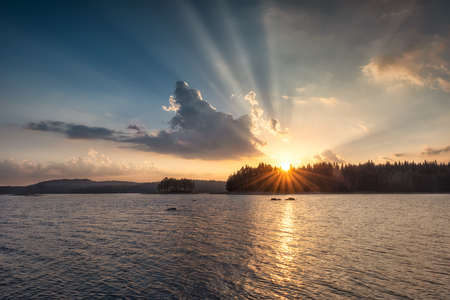 Golden lake sunset in Rhodope Mountains, Bulgaria 写真素材 - 126045635