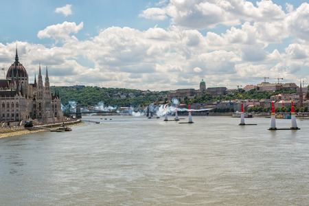 BUDAPEST, HUNGARY, JULY 1, 2 - 2017 - Red Bull Air Race in the center of Budapest, Hungary Редакционное