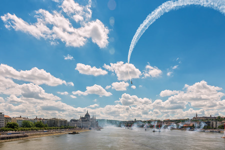 BUDAPEST, HUNGARY, JULY 1, 2 - 2017 - Red Bull Air Race in the center of Budapest, Hungary Archivio Fotografico - 126072067