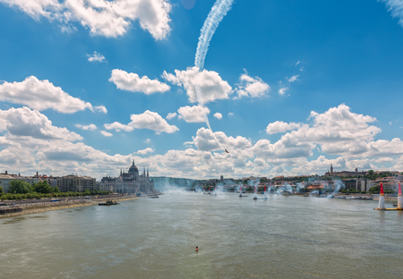 BUDAPEST, HUNGARY, JULY 1, 2 - 2017 - Red Bull Air Race in the center of Budapest, Hungary 写真素材 - 126072068