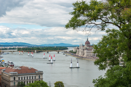 BUDAPEST, HUNGARY, JULY 1, 2 - 2017 - Red Bull Air Race in the center of Budapest, Hungary 写真素材 - 126072070