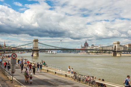 BUDAPEST, HUNGARY, JULY 1, 2 - 2017 - Red Bull Air Race in the center of Budapest, Hungary 写真素材 - 126072071