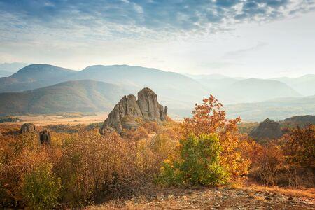 Amazing autumn view of a lonely rock among an autumn field and colorful trees 写真素材