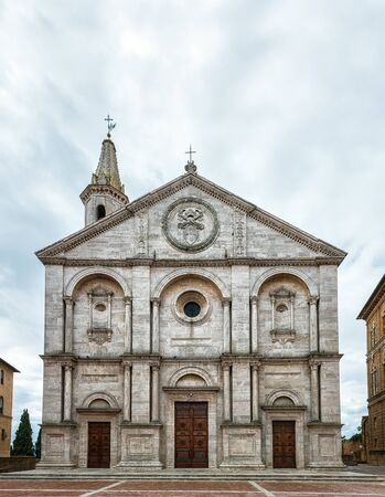 The cathedral in the main square of the ancient town Pienza in Tuscany, Italy