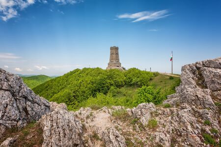 Magnificent panoramic view of the Shipka National Monument (Liberty Monument), Balkans, Bulgaria 스톡 콘텐츠