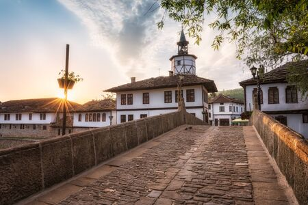 Morning view with an old street in the revival architectural complex in Tryavna, Bulgaria 写真素材