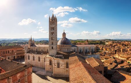Aerial view over  Siena Cathedral in Siena, Tuscany region, Italy