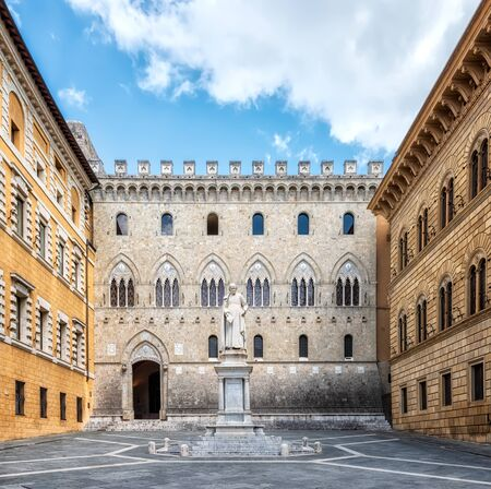 View with the Piazza Salimbeni in Siena, Tuscany, Italy 写真素材