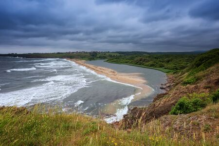 Panoramic morning view with one of the most beautiful and wild beaches at the Black Sea coast and the estuary of Veleka river, Bulgaria.