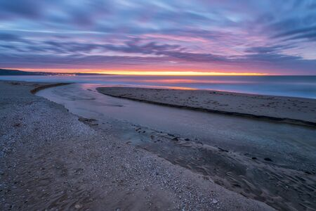 Amazing sunrise view with colorful sky at the Black Sea coast 写真素材