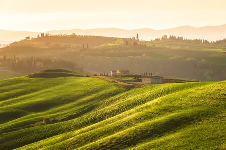Amazing spring landscape with green rolling hills and farm houses in the heart of Tuscany in golden hour before sunset 写真素材