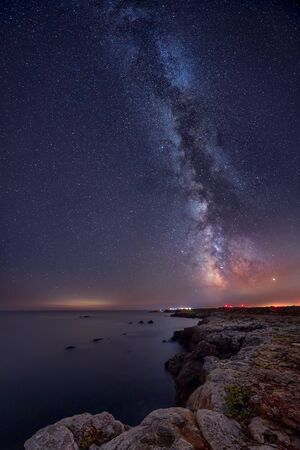 Long time exposure night landscape with Milky Way Galaxy above the Black sea, Bulgaria